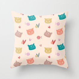 British Shorthair Cats Lovely Heart Yarn Ball Multi Colors AOP Throw Pillow