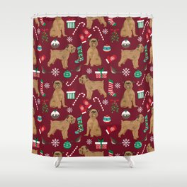 Brussels Griffon christmas holiday pet pattern stockings presents dog breed gifts Shower Curtain