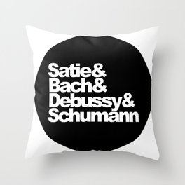 Satie and Bach and Debussy and Schumann, circle, black Throw Pillow