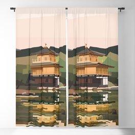 Geometric Kinkakuji, Golden Pavilion Kyoto Japan Blackout Curtain