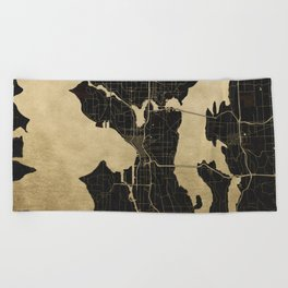 Seattle Black and Gold Map Beach Towel