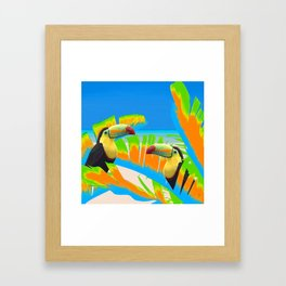 Colorful Toucans Tropical Banana Leaves Pattern Framed Art Print