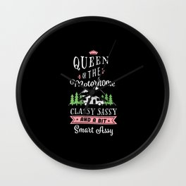 Queen of the Motorhome Funny Gift for Camper Wife Wall Clock