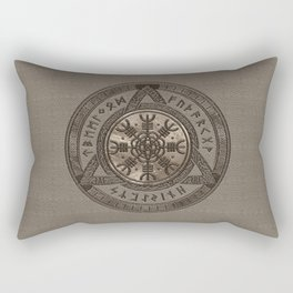 The Helm of Awe - Beige Leather and gold Rectangular Pillow