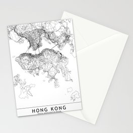 Hong Kong White Map Stationery Cards