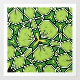 Orion Green Geometric Kaleidoscope Design Art Print