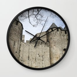 Medieval Castle at Carcassonne France - Cathar Country Languedoc  Wall Clock