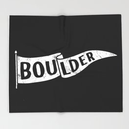 Boulder Colorado Pennant Flag B&W // University College Dorm Room Graphic Design Decor Black & White Throw Blanket