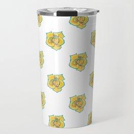 Yellow and Turquoise Rose Travel Mug