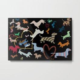 dachshund dog. love. pattern Metal Print