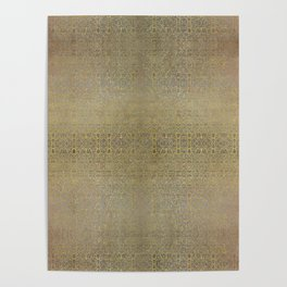 Gold and Silver Leaf Bridget Riley Inspired Pattern Poster