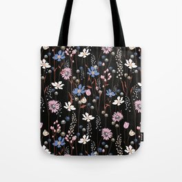 Darkly Beautiful Wildflower Floral Pattern Tote Bag