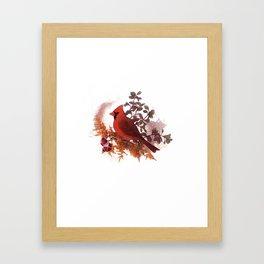 Cardinal Bird and Copper Framed Art Print
