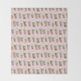 Coffee Cup Line Up in Pink Berry Throw Blanket
