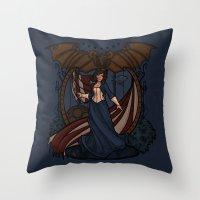 nouveau Throw Pillows featuring Elizabeth Nouveau by Karen Hallion Illustrations