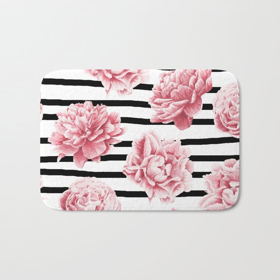 Simply Drawn Stripes and Roses Bath Mat