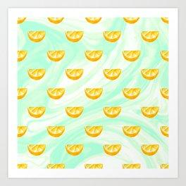Summer watercolor oranges and marbleized design Art Print