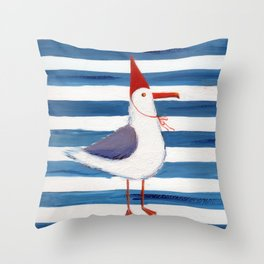 Seagull on a striped background in a red cap. Throw Pillow