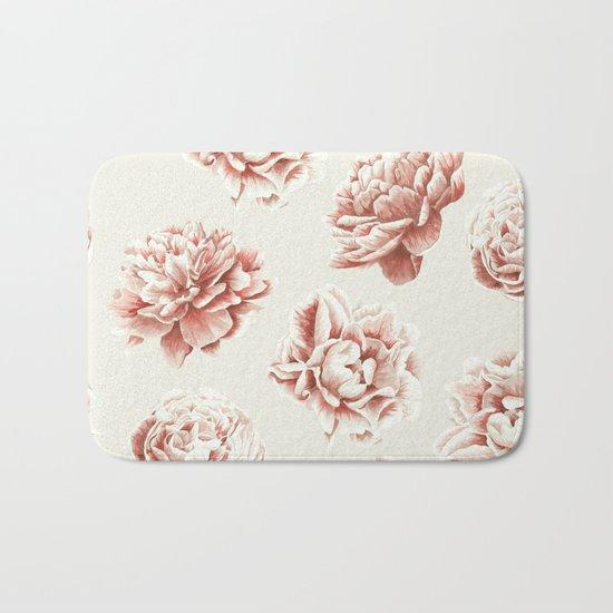 Rose Garden Vintage Rose Pink and Cream Bath Mat