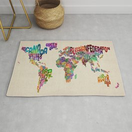 Typography Text Map of the World Rug