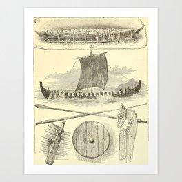 Vintage Vikings Artwork and Illustrations Art Print