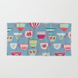 China Teacups on Teal Hand & Bath Towel