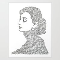 hepburn Art Prints featuring Audrey Hepburn by S. L. Fina