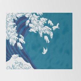 Waves Llama Throw Blanket