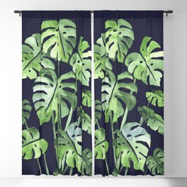 Delicate Monstera Blue #society6 Blackout Curtain