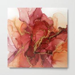 Abstract Autumn Flower Metal Print