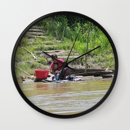 Laundry Day in the Amazon Wall Clock