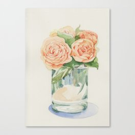 Old roses in glass Canvas Print