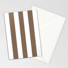 Pastel brown - solid color - white vertical lines pattern Stationery Cards