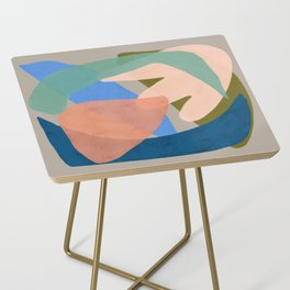 Shapes and Layers no.30 - Large Organic Shapes Blue Pink Green Gray Side Table