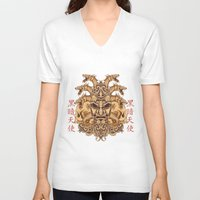 oriental V-neck T-shirts featuring Oriental Mask by Tshirt-Factory