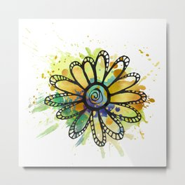 GC031-11 Colorful watercolor doodle flower yellow and blue Metal Print