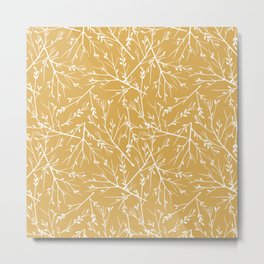 Botanical, Twigs and Leaves, Floral Prints, Yellow Metal Print