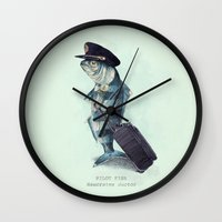 pilot Wall Clocks featuring The Pilot (colour option) by Eric Fan