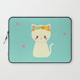 Kitty Flower Crown Laptop Sleeve