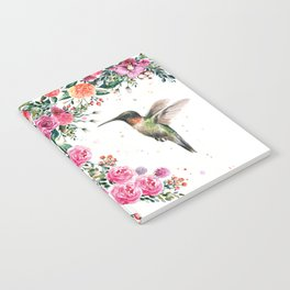 Hummingbird and Flowers Watercolor Animals Notebook