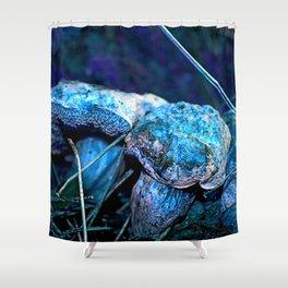 alien landscape indigo purple orange surreallist mushrooms Shower Curtain