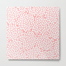 White Floral Pattern on Coral - Mix & Match with Simplicity of Life Metal Print