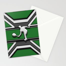 Green and White Tennis Player Sports Design Stationery Cards
