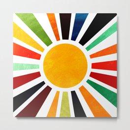 Sun Retro Art Metal Print