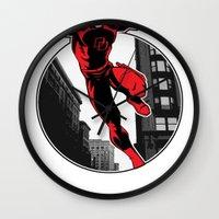 daredevil Wall Clocks featuring Daredevil by Atom Manhattan
