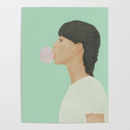 Blowing Bubble Gum Poster