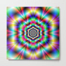 Psychedelic Hexagon Rings Metal Print