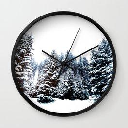 Snowy Winter Forest Wall Clock