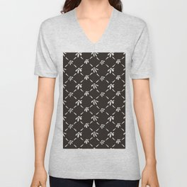 Floral Geometric Pattern Chocolate Brown Unisex V-Neck