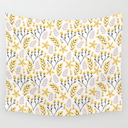 Yellow Floral on White Wall Tapestry